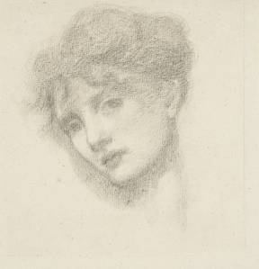 Study of a Woman's Head 1870 by Sir Edward Coley Burne-Jones, Bt 1833-1898