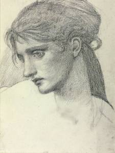 Study of a Girl's Head 1866 by Sir Edward Coley Burne-Jones, Bt 1833-1898